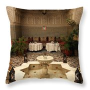 Interior Of A Traditional Riad In Fez Throw Pillow by Ralph A  Ledergerber-Photography