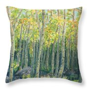 Into The Aspens Throw Pillow by Mary Benke