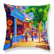 Irish Pub on Crescent Street Throw Pillow by CAROLE SPANDAU