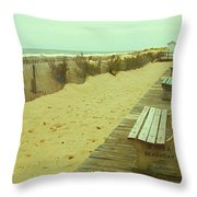 Is This A Beach Day - Jersey Shore Throw Pillow by Angie Tirado