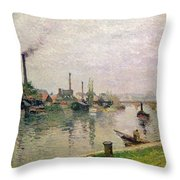 Island of the Cross at Rouen Throw Pillow by Camille Pissarro