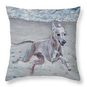Italian Greyhound On The Beach Throw Pillow by Lee Ann Shepard