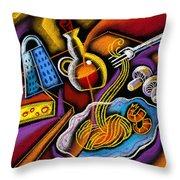 Italian Pasta Throw Pillow by Leon Zernitsky