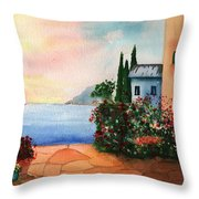 Italian Sunset Villa by the Sea Throw Pillow by Sharon Mick