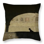 Italy, Tuscany, Florence, A Man Walks Throw Pillow by Keenpress