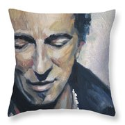 It's Boss Time II - Bruce Springsteen Portrait Throw Pillow by Khairzul MG