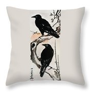 Japanese Print: Crow Throw Pillow by Granger