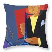Jazz Sharp Throw Pillow by Kaaria Mucherera