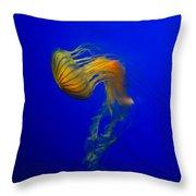 Jellyfish From The Deep Blue Throw Pillow by Nila Newsom