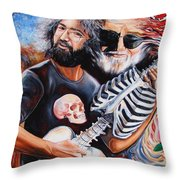 Jerry Garcia And The Grateful Dead Throw Pillow by Darwin Leon