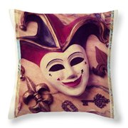 Jester Mask Throw Pillow by Garry Gay