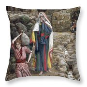 Jesus And His Mother At The Fountain Throw Pillow by Tissot