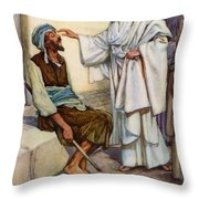 Jesus And The Blind Man Throw Pillow by Arthur A Dixon