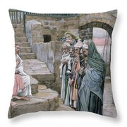 Jesus And The Little Child Throw Pillow by Tissot
