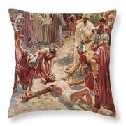 Jesus Being Crucified Throw Pillow by William Brassey Hole
