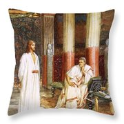 Jesus Being Interviewed Privately Throw Pillow by William Brassey Hole