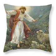 Jesus Christ The Tender Shepherd Throw Pillow by Ambrose Dudley