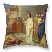 Jesus Healing The Leper Throw Pillow by Jean Marie Melchior Doze