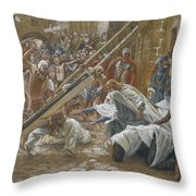 Jesus Meets His Mother Throw Pillow by Tissot
