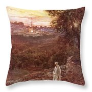 Jesus On The Mount Of Olives Throw Pillow by William Brassey Hole