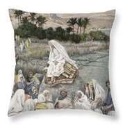 Jesus Preaching By The Seashore Throw Pillow by Tissot
