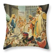 Jesus Removing the Money Lenders from the Temple Throw Pillow by James Edwin McConnell