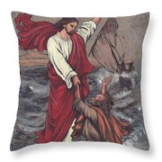 Jesus Saves Peter Throw Pillow by Morgan Fitzsimons