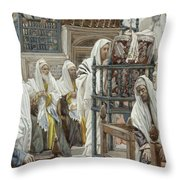 Jesus Unrolls The Book In The Synagogue Throw Pillow by Tissot