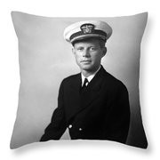 Jfk Wearing His Navy Uniform  Throw Pillow by War Is Hell Store