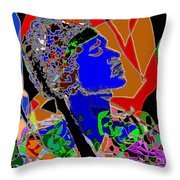 Jimi In Heaven Colorful Throw Pillow by Navo Art
