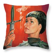 Joan of Arc Throw Pillow by James Edwin McConnell