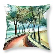 Jogging Track Throw Pillow by Anil Nene