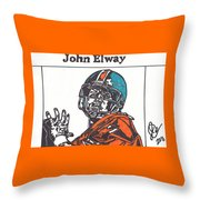 John Elway 2 Throw Pillow by Jeremiah Colley