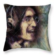 John Lennon Tribute- Don't Let Me Down Throw Pillow by David Finley