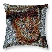 John Wayne Bottle Cap Mosaic Throw Pillow by Paul Van Scott