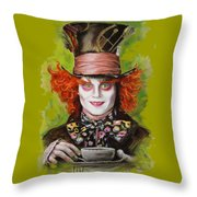 Johnny Depp As Mad Hatter Throw Pillow by Melanie D