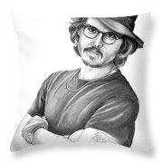Johnny Depp Throw Pillow by Murphy Elliott