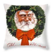 Jolly Old Saint Nick Throw Pillow by Richard De Wolfe