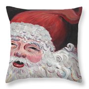 Jolly Santa Throw Pillow by Nadine Rippelmeyer