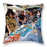 Judaica Artist Mario Pomerantz At Nachalat Benyamin Artist Market Throw Pillow by Zalman Latzkovich