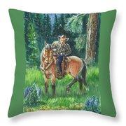 Juel Riding Chiggy-bump Throw Pillow by Dawn Senior-Trask