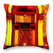 Juke box with Christmas lights Throw Pillow by Garry Gay