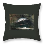Jumping Trout Throw Pillow by Winslow Homer