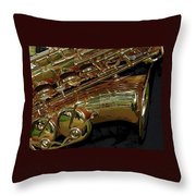 Jupiter Saxophone Throw Pillow by Michelle Calkins