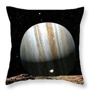Jupiter Seen From Europa Throw Pillow by Don Dixon