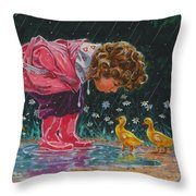 Just Ducky Throw Pillow by Richard De Wolfe