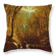 Kaaterskill Falls Throw Pillow by Sanford Robinson Gifford