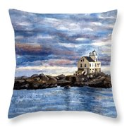 Katland Lighthouse Throw Pillow by Janet King