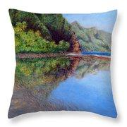 Ke'e Morning Throw Pillow by Kenneth Grzesik