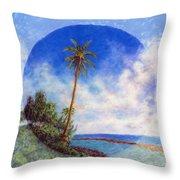 Ke'e Palm Throw Pillow by Kenneth Grzesik